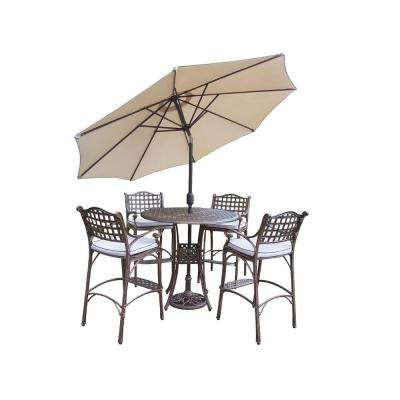 Elite 5-Piece Patio Bar Set with Solid Cushions and 2-Piece Umbrella Set