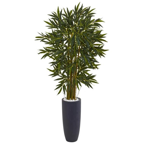 Indoor Bamboo Artificial Tree in Gray Cylinder Planter