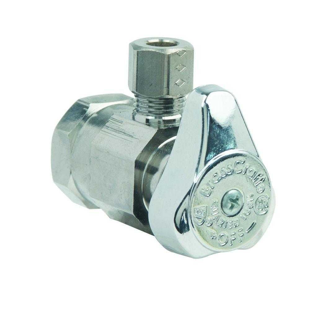 BrassCraft 1/2 in. FIP Inlet x 1/4 in. O.D. Comp Outlet 1/4-Turn Angle Valve