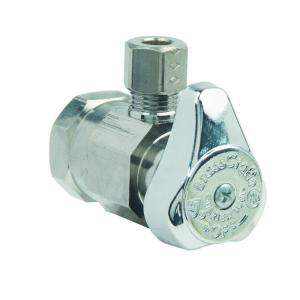 Brasscraft 1/2 inch FIP Inlet x 1/4 inch O.D. Comp Outlet 1/4-Turn Angle Valve by BrassCraft