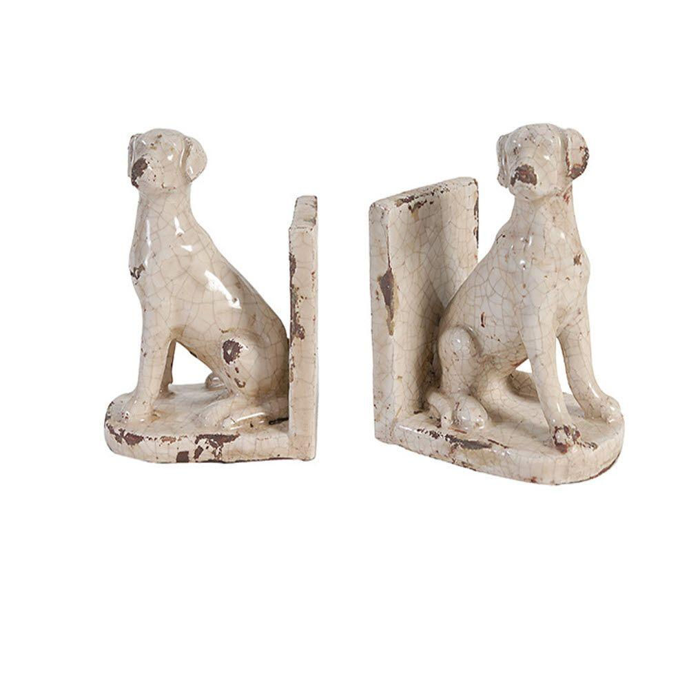 Sitting Dog Distressed Cream Bookends (Set of 2)