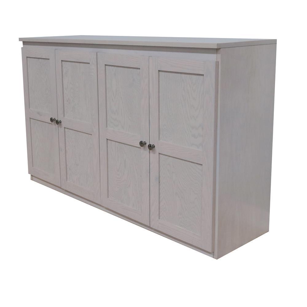 Wood 60 inch Storage Console TV Stand/Dining Buffet - Coastal White Finish