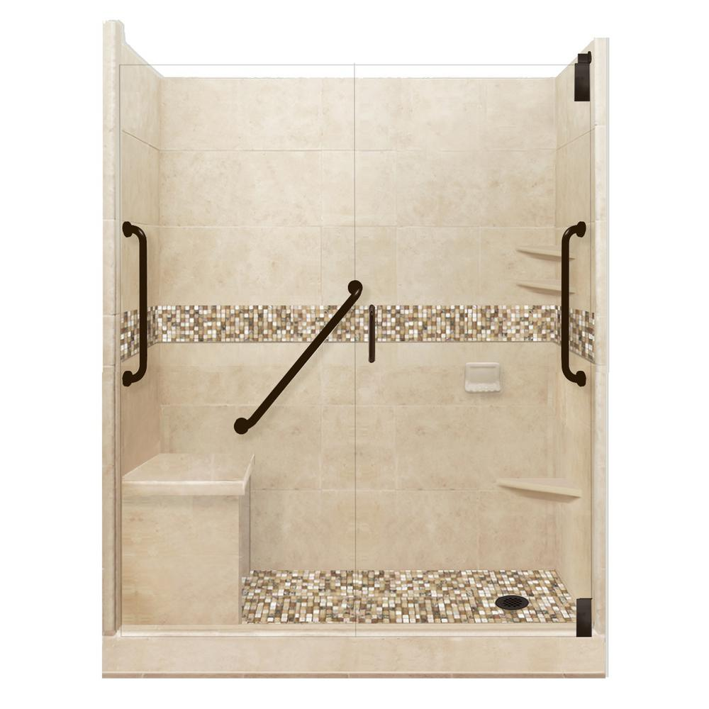 American Bath Factory Roma Freedom Grand Hinged 34 in. x 60 in. x 80 in. Right Drain Alcove Shower Kit in Brown Sugar and Old Bronze Hardware