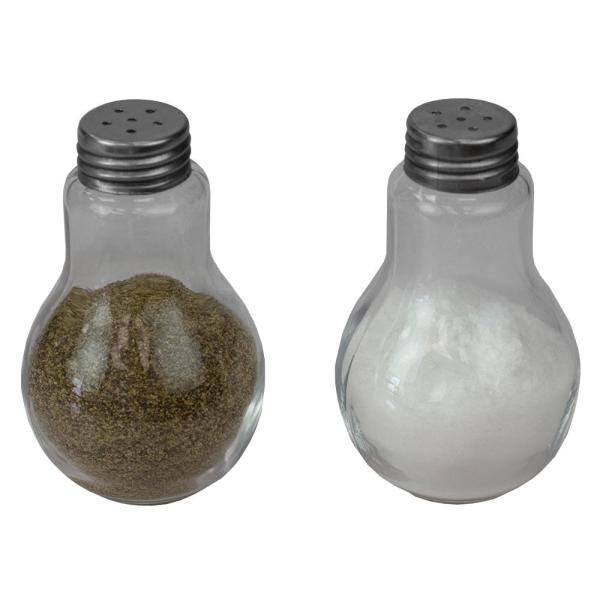 3.8 oz. Clear Glass Bulb Shape Tabletop Salt and Pepper Shaker with Perforated Stainless Steel Tops