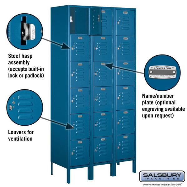 Salsbury Industries 66000 Series 36 In W X 78 In H X 15 In D Six Tier Box Style Metal Locker Assembled In Blue 66365bl A The Home Depot