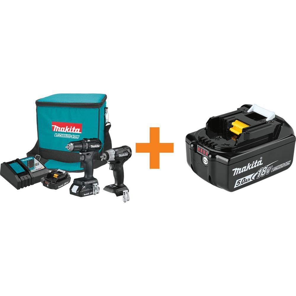 18-Volt LXT Sub-Compact Brushless 2-Piece Combo Kit 2.0 Ah with bonus 18-Volt LXT Battery Pack 5.0 Ah with Fuel Gauge