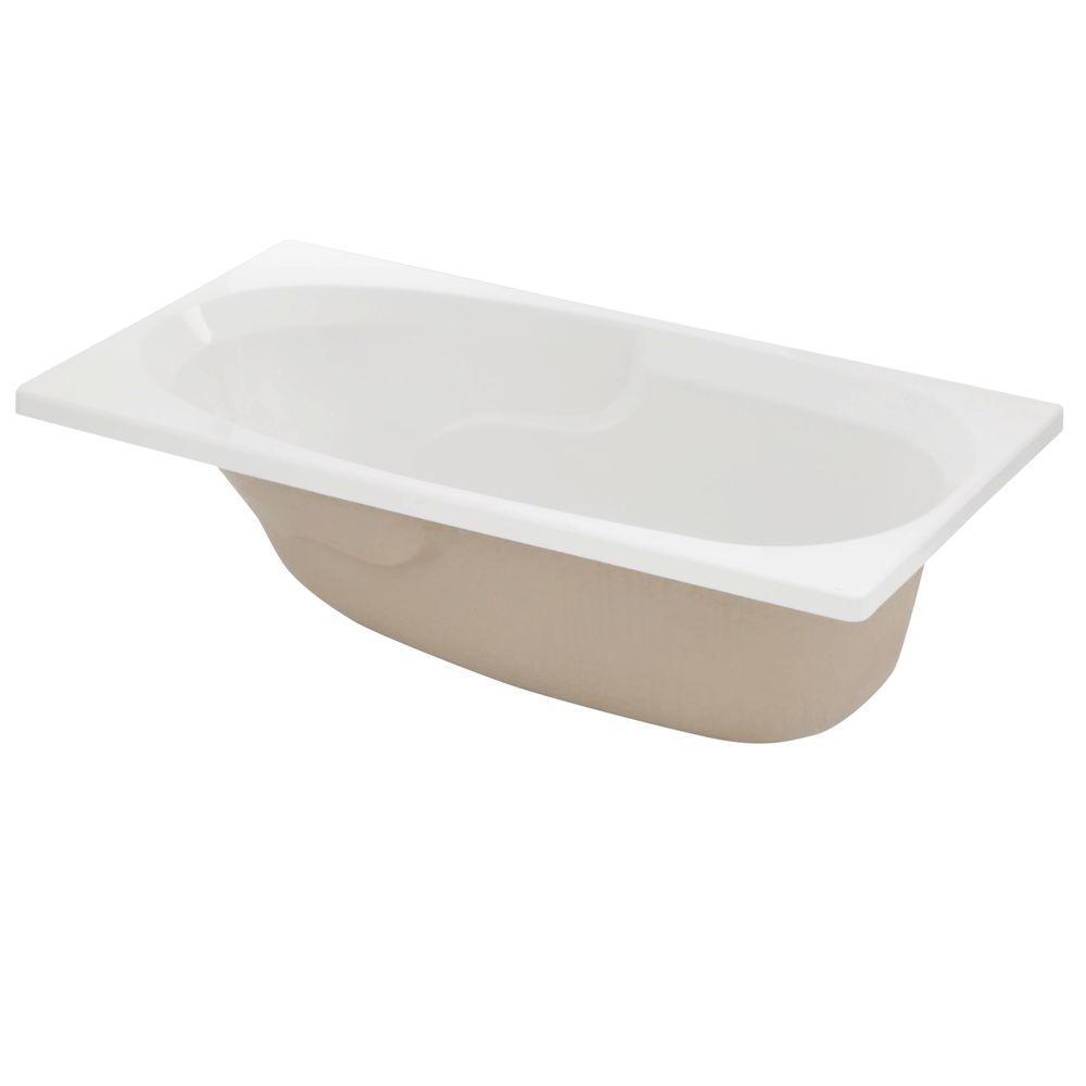 Lyons Industries Classic 5 ft. Reversible Drain Drop-In Soaking Bathtub in White