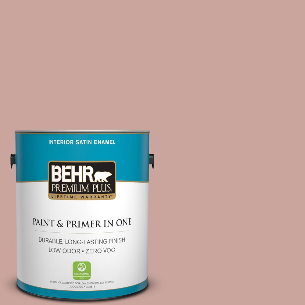 1-gal. #160E-3 Rose Potpourri Zero VOC Satin Enamel Interior Paint