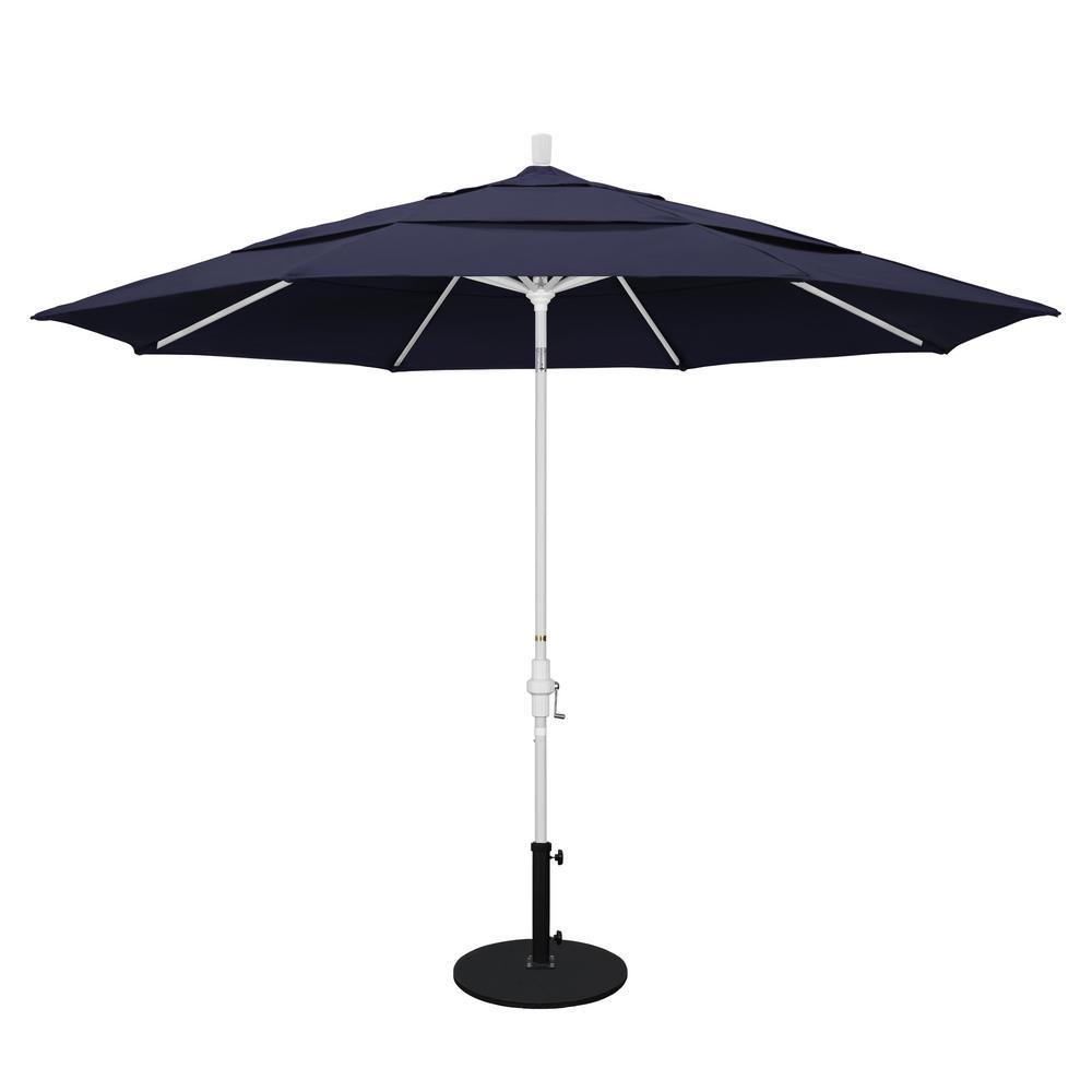 Aluminum Collar Tilt Double Vented Patio Umbrella In Navy Blue Olefin