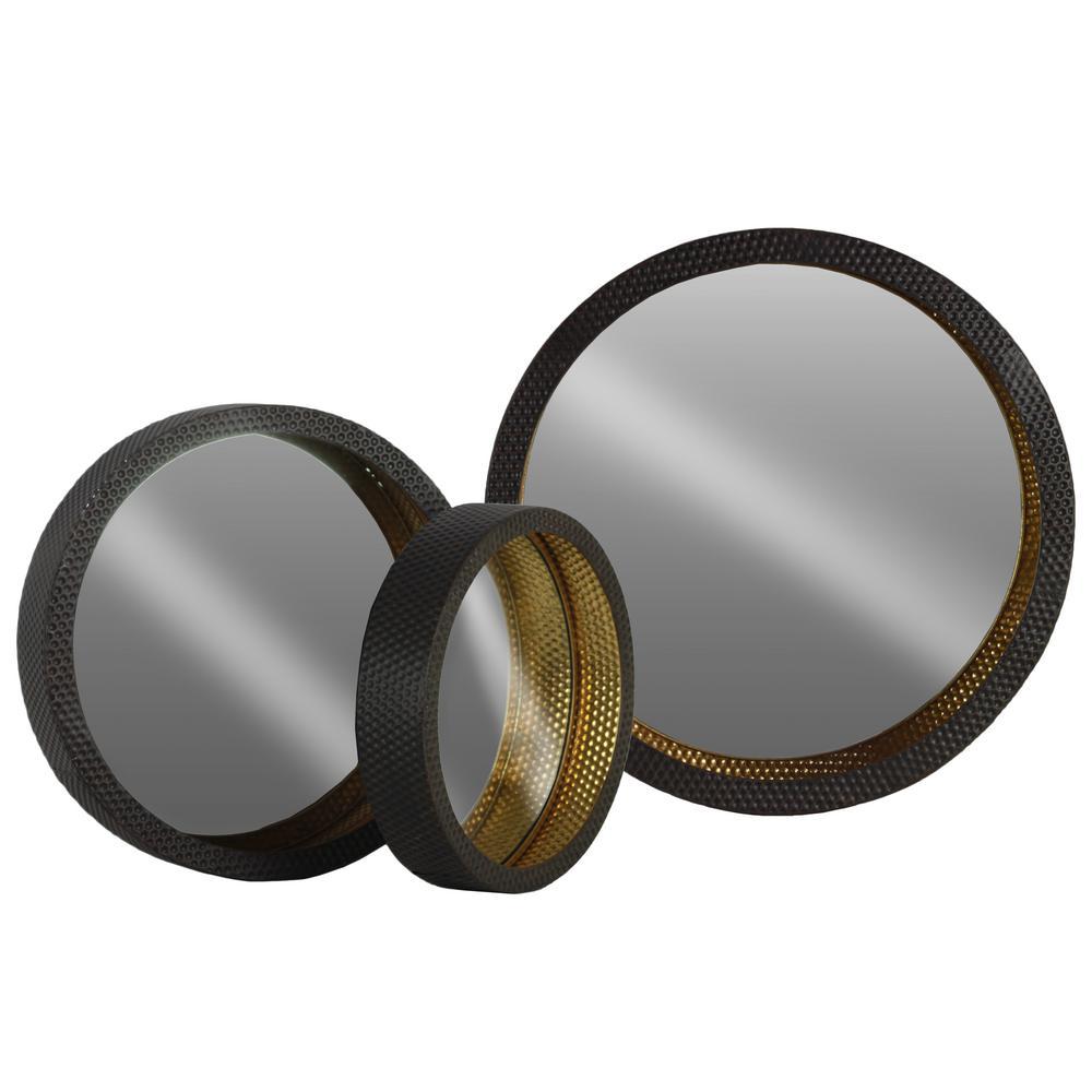 Round Black Metallic Wall Mirror