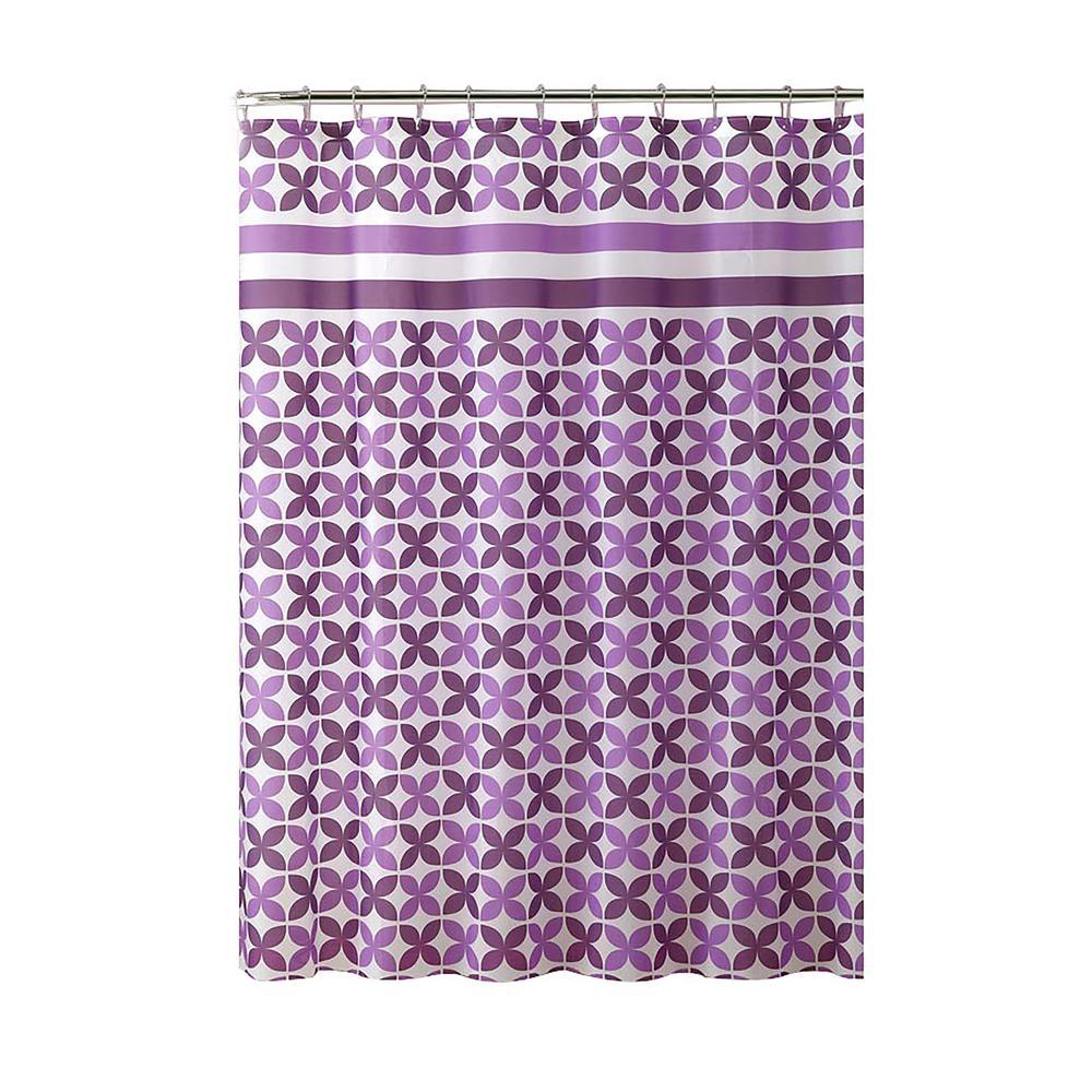 PEVA 70 in. x 72 in. White Stripe Design Shower Curtain