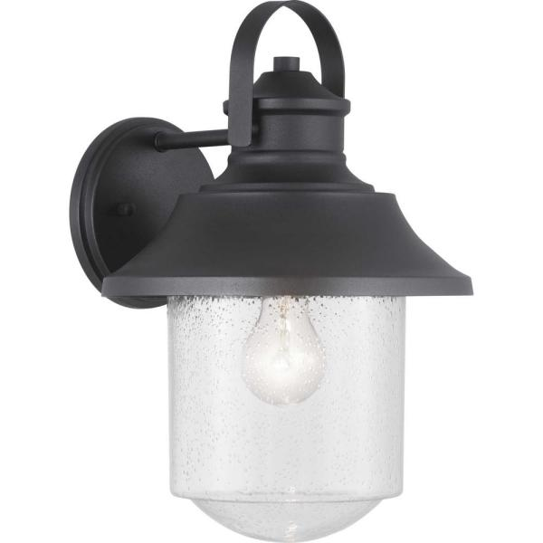 Lakelynn 1-Light 9 in. Textured Black Outdoor Wall Lantern with Clear Seeded Glass