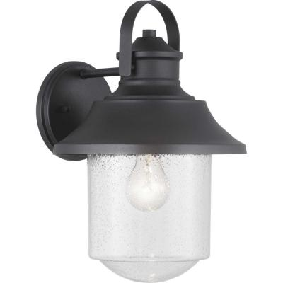 Lakelynn 1-Light 12 in. Textured Black Outdoor Wall Lantern with Clear Seeded Glass