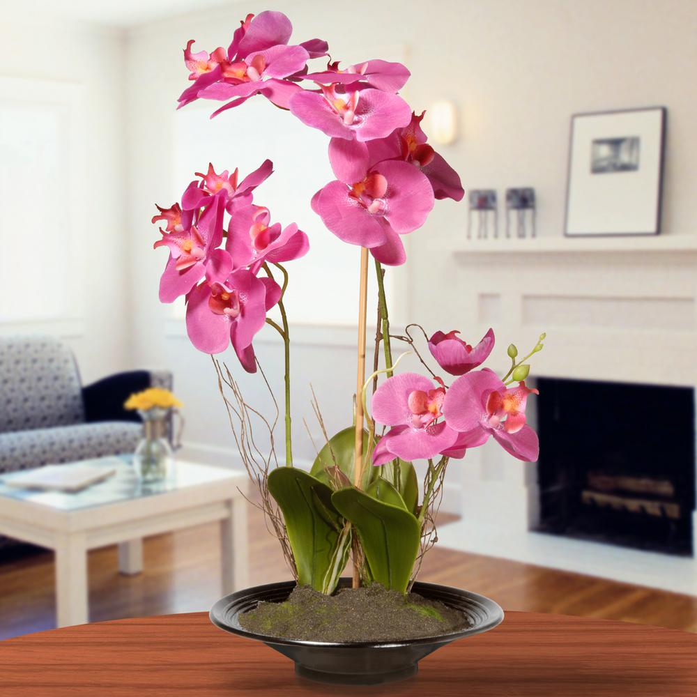 Artificial plants flowers home accents the home depot pink orchid flowers mightylinksfo