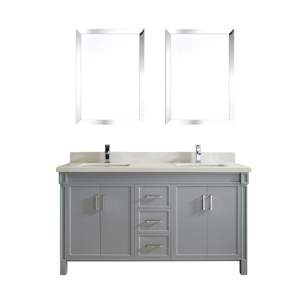 Studio Bathe Serrano 63 in. W x 22 in. D Vanity in Oxford Gray with Quartz Vanity Top in White with White Basin