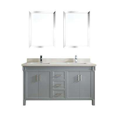Serrano 63 in. W x 22 in. D Vanity in Oxford Gray with Quartz Vanity Top in White with White Basin