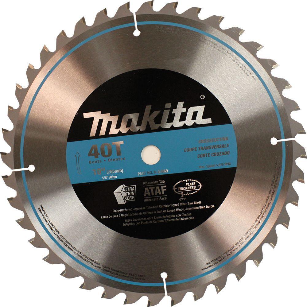 Makita 10 in. x 5/8 in. 40-Teeth Micro-Polished Miter Saw Blade