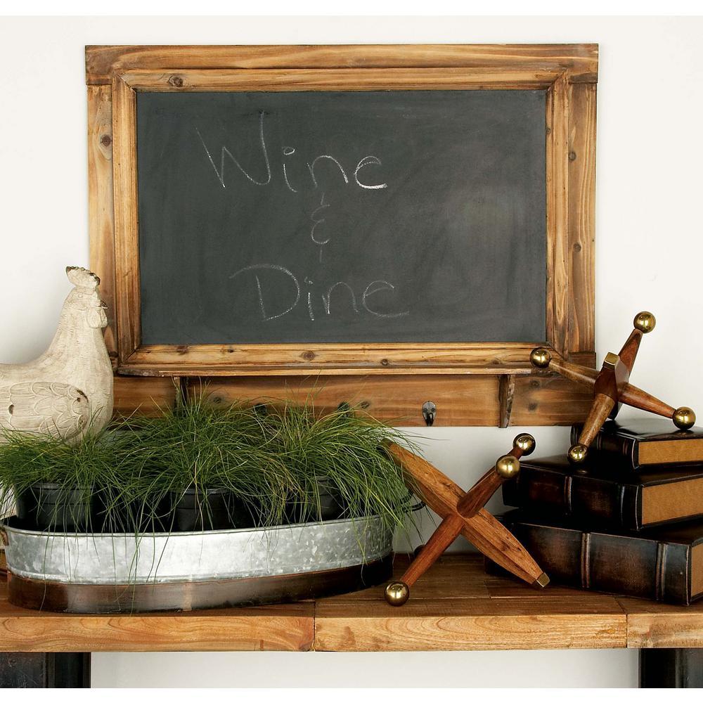 31 in. x 24 in. Rustic Black and Brown Wood Blackboard and Wall Shelf