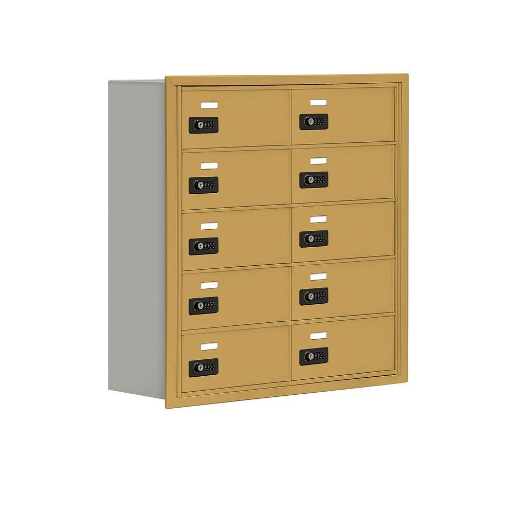 Salsbury Industries 19000 Series 30.5 in. W x 31 in. H x 8.75 in. D 10 B Doors R-Mounted Resettable Locks Cell Phone Locker in Gold