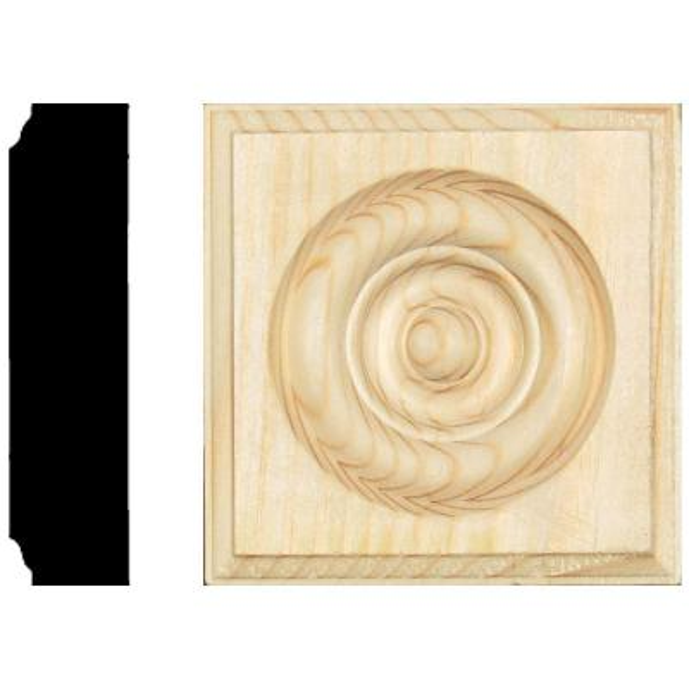 7/8 in. x 3-1/2 in. x 3-1/2 in. Pine Rosette Block Moulding