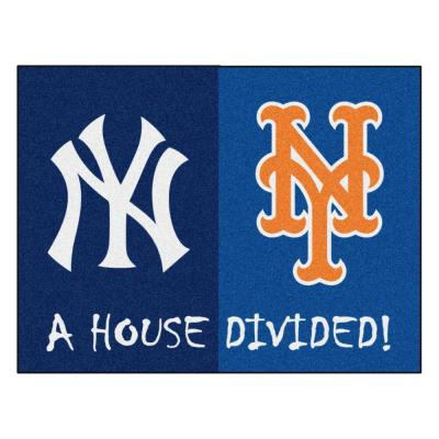 MLB Yankees/Mets House Divided Navy Blue 3 ft. x 4 ft. Area Rug