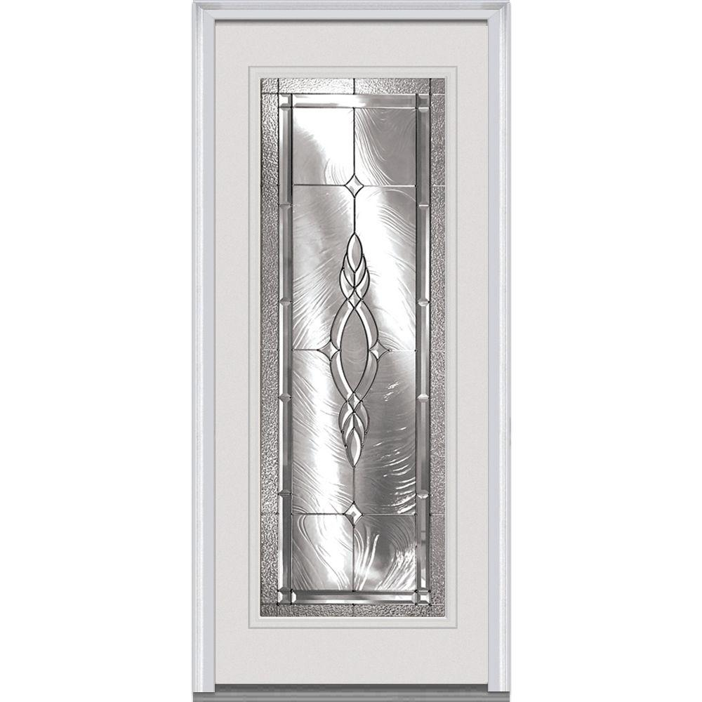 Milliken Millwork 32 in. x 80 in. Brentwood Decorative Glass Full Lite Primed White Builder's Choice Steel Prehung Front Door