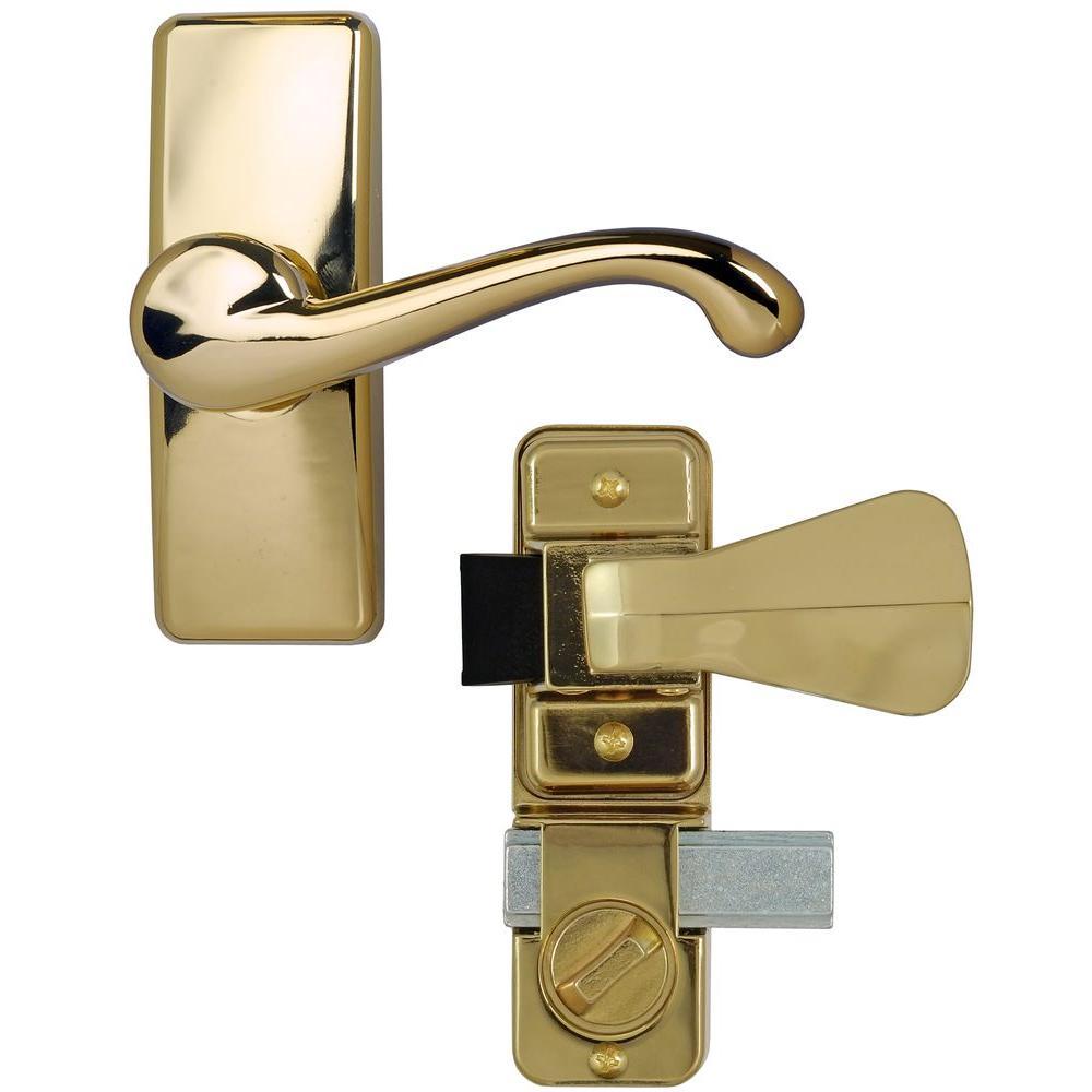Bright Brass Coated Zinc Storm and Screen Door Lever Handle Set with Deadbolt