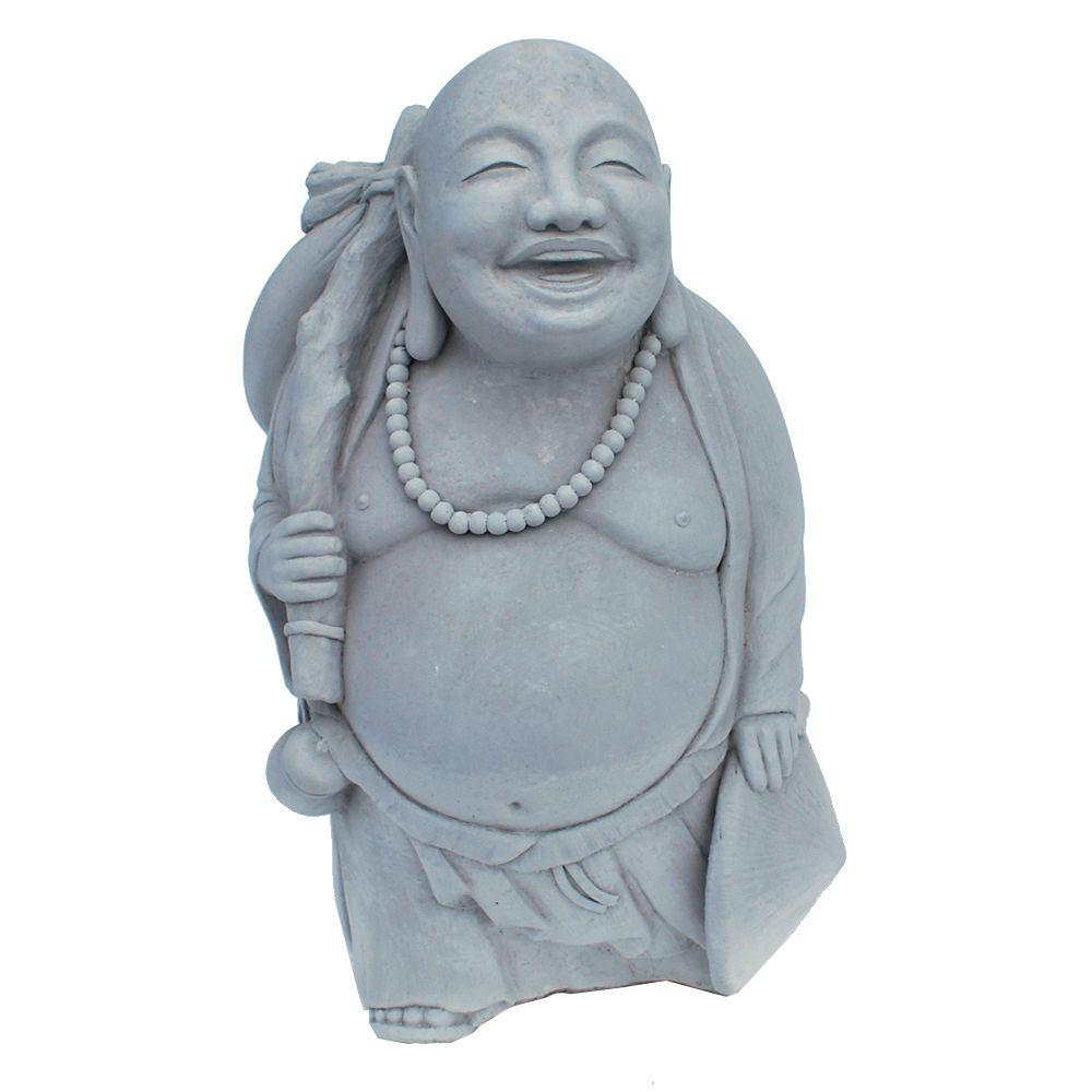 Cast Stone Traveling Buddha Garden Statue Antique Gray