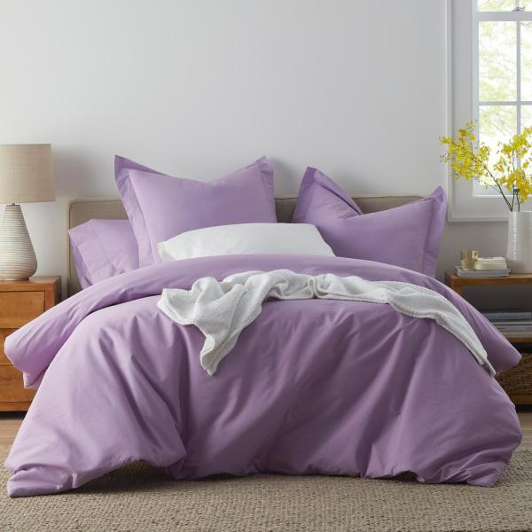 The Company Store Classic Pale Lilac Percale Queen Duvet Cover DT30-Q-PALLILAC