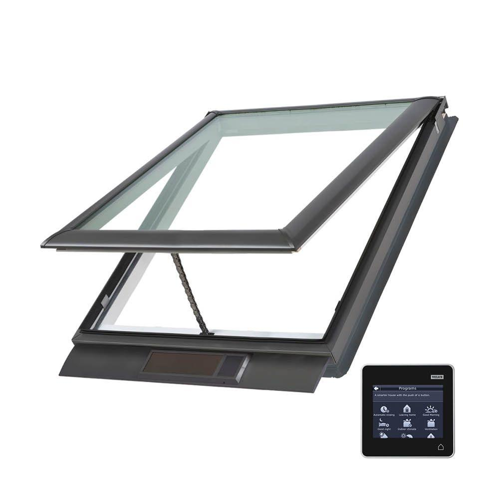 VELUX 44-1/4 x 45-3/4 in. Solar Powered Fresh Air Venting Deck-Mount Skylight with Laminated Low-E3 Glass