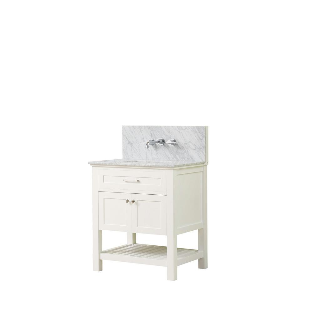 Direct vanity sink Preswick Spa Premium 32 in. W x 25 in. D Vanity in White with Marble Vanity Top in White Carrara with White Basin