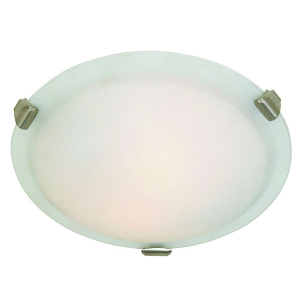 ARTCRAFT Clip Flush 3-Light Brushed Nickel Flush Mount Large round flush mount with semi-clear white glass in brushed nickel finish