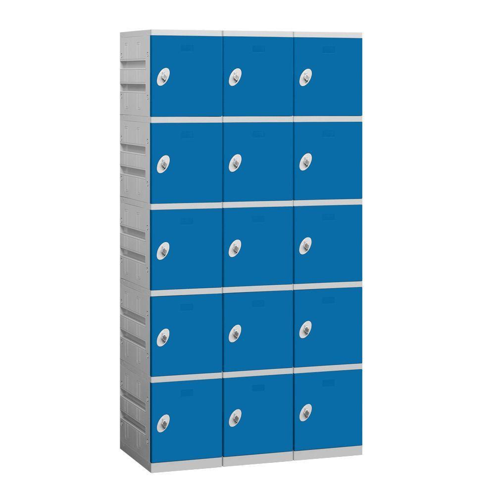 95000 Series 38.25 in. W x 74 in. H x 18 in. D 5-Tier Plastic Lockers Assembled in Blue
