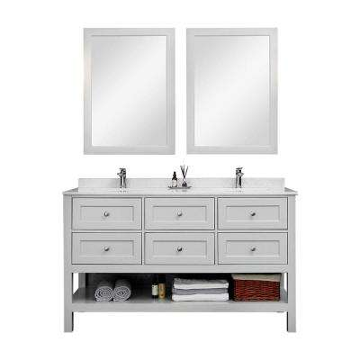 60 in. W x 22 in. D Vanity with Marble Vanity Top in Black with White Basin Grey