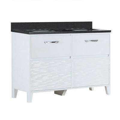 Tustin 48 in. W x 19 in. D x 34 in. H Double Vanity in White with Granite Vanity Top in Black Galaxy with White Basins