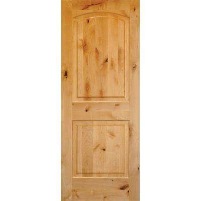 High Quality Rustic Knotty Alder 2 Panel Top Rail Arch Solid Wood Core Single Prehung  Interior Door