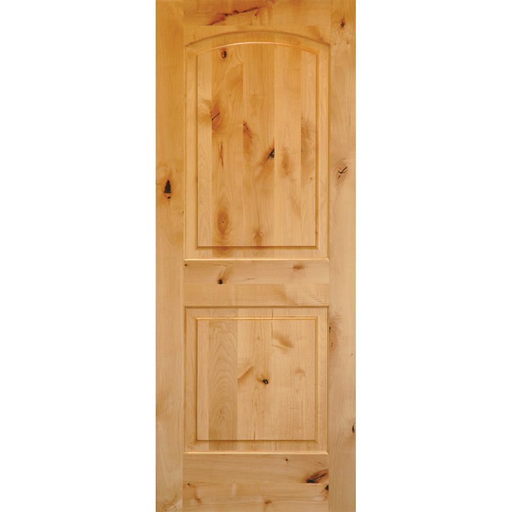 Rustic Knotty Alder 2 Panel Top Rail Arch Solid Wood Core Single Prehung  Interior Door