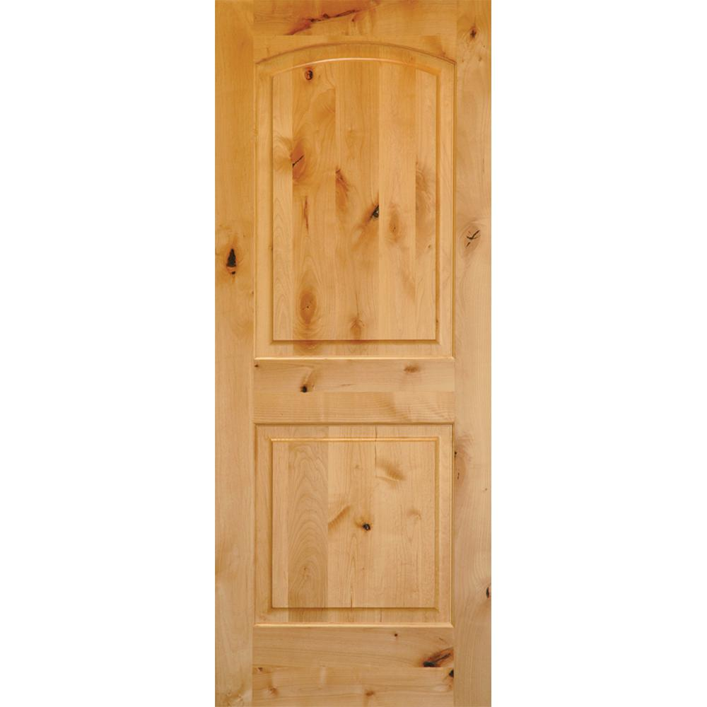 Rustic Knotty Alder 2 Panel Top Rail Arch Solid Wood Right Hand Single Prehung Interior Door
