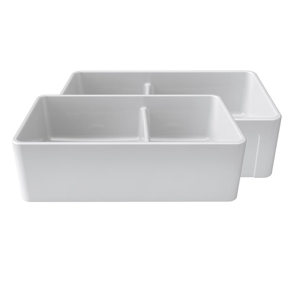 LaToscana Reversible Farmhouse Fireclay 33 in. Double Bowl Kitchen Sink in White
