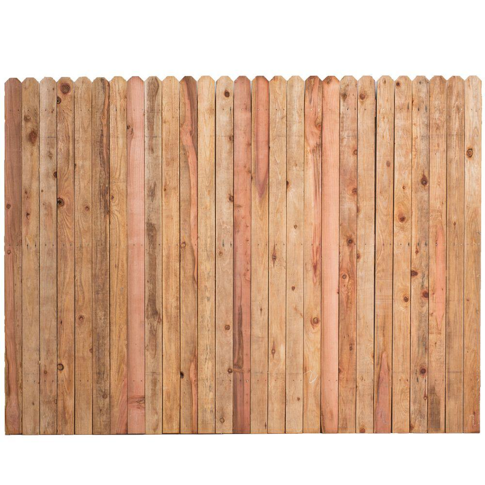 6 ft  H x 8 ft  W Construction Common Redwood Dog-Ear Fence Panel
