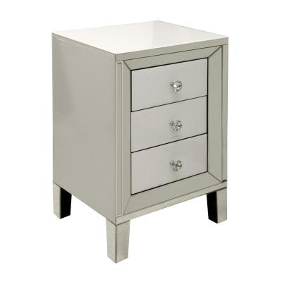 White 3-Drawer with Diamond Crystal Pulls Cabinet