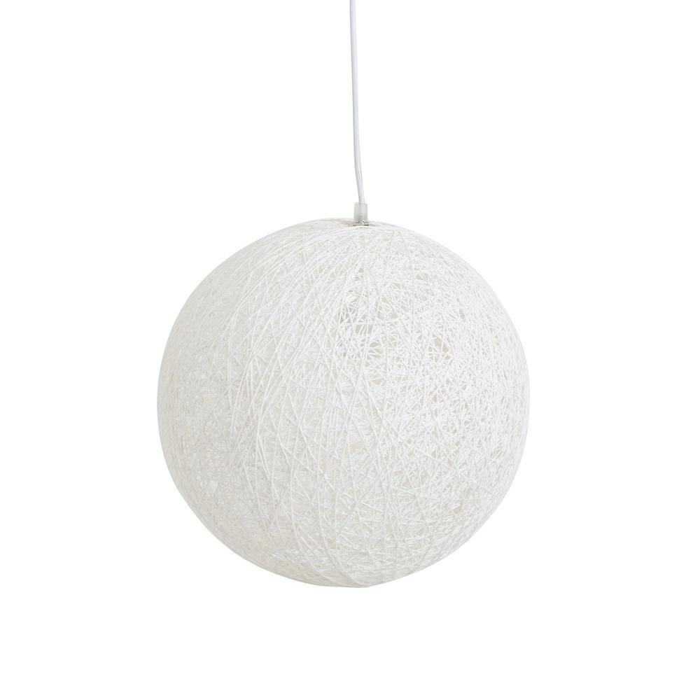 Bodhi Large Wicker Globe 1-Light White Pendant
