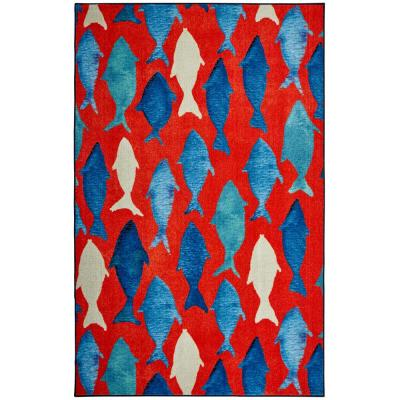 Mohawk Home Coastal Catch Red 5 Ft X 8 Ft Indoor Area Rug 047793 The Home Depot