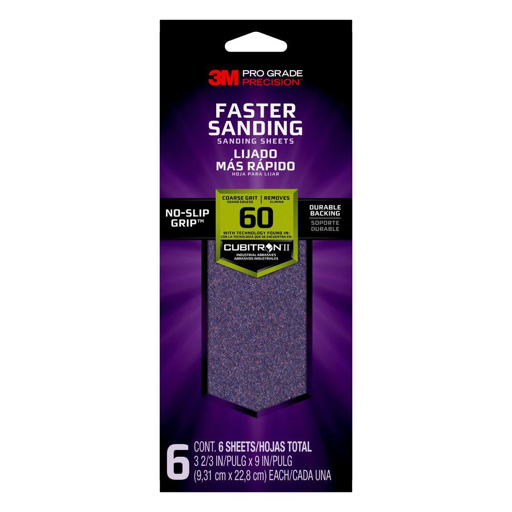 3M Pro Grade Precision Faster Sanding Sanding Sheets, 3 2/3 in x 9 in, 60 grit, Coarse, 6/pk