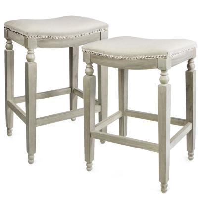 28.5 in. Classic Isabel Beige Backless Counter Saddle Stool (Set of 2)