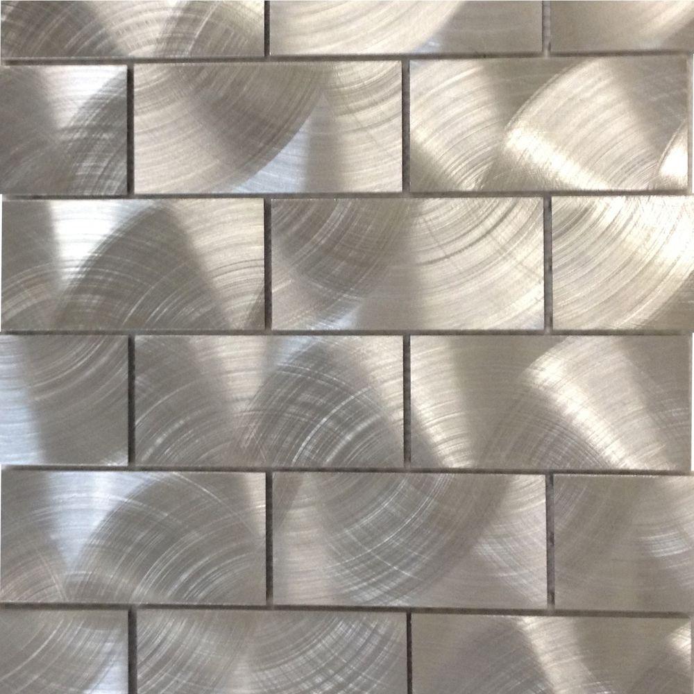 Urban Silver Aluminum Mosaic Tile - 3 in. x 6 in. Tile Sample