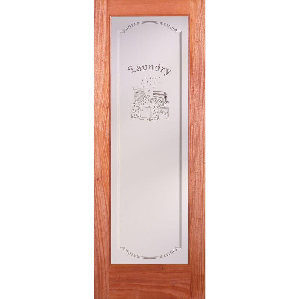 Feather River Doors 32 in. x 80 in. 1 Lite Unfinished Mahogany Laundry Woodgrain Interior Door Slab