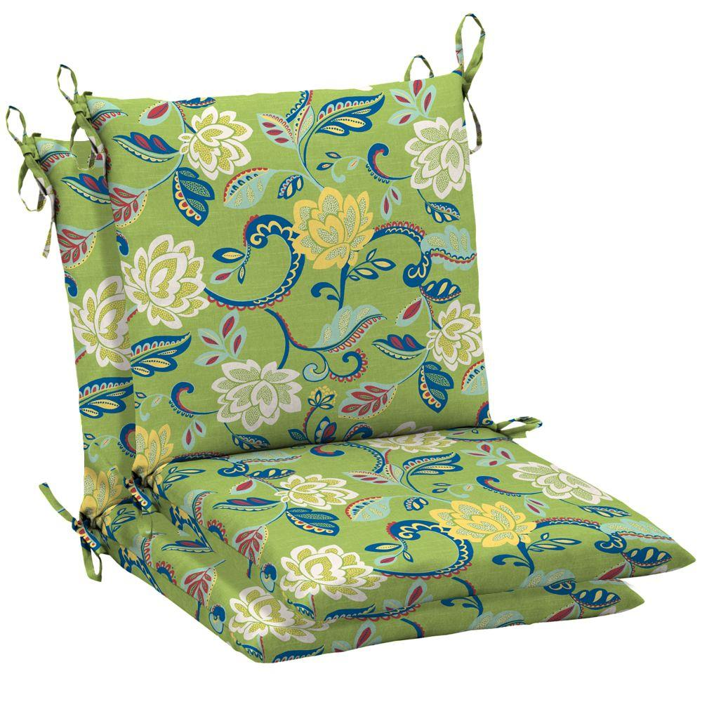Arden Beachside Floral Ii Mid Back Outdoor Chair Cushion 2 Pack-DISCONTINUED