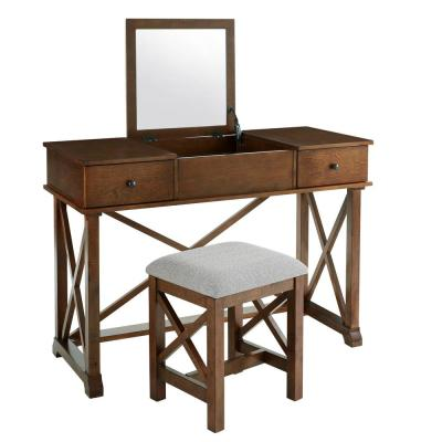Dawton Walnut Finish Vanity Set with Inset Mirror and Upholstered Stool (43.6 in W. X 32 in H.)