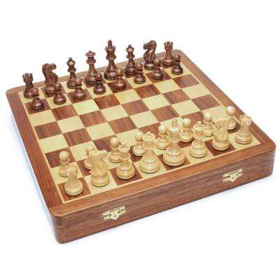 17 in. Deluxe English Style Chess Set in Wooden Case - Felt Storage for Handcarved Pieces and Wooden Board